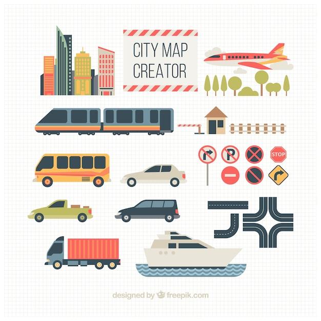 Transportelemente für die schaffung einer stadt Kostenlosen Vektoren