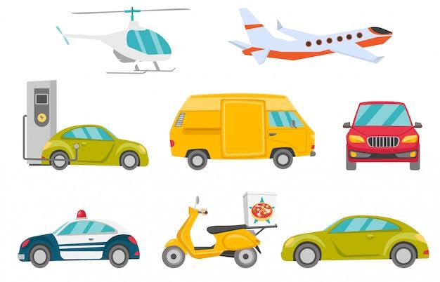 Transportfahrzeugset Premium Vektoren