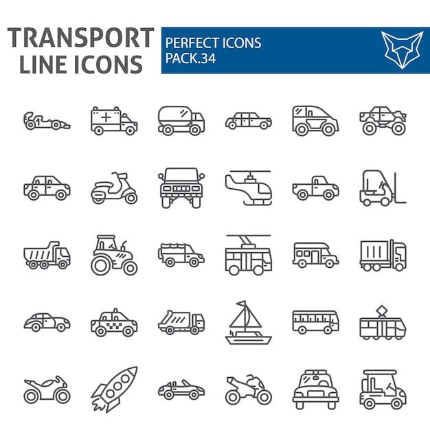 Transportlinie ikonensatz, fahrzeugsammlung Premium Vektoren