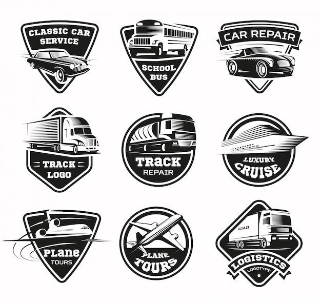Transportmodi monochromes emblem-set Kostenlosen Vektoren