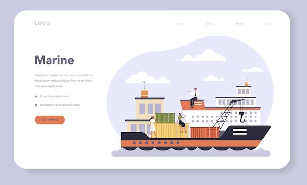Transportsektor der wirtschaft webvorlage oder landing page. seetransport. frachttransportdienst. reise- und tourismusgeschäft. Premium Vektoren