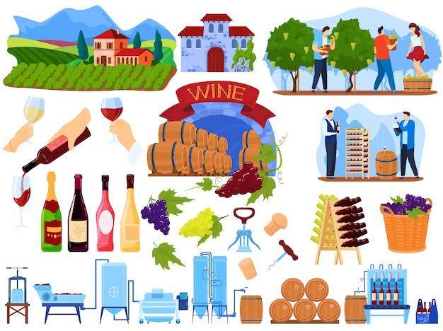 Traubenweinproduktprozess im fabrikvektorillustrationssatz. karikatur flache weinherstellung produktionssammlung mit menschen, die im bauernhof weinberg ernten Premium Vektoren