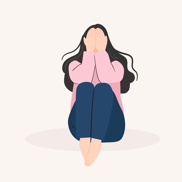 Traurige einsame frau. deprimiertes junges mädchen. vektorillustration im flachen karikaturstil Premium Vektoren