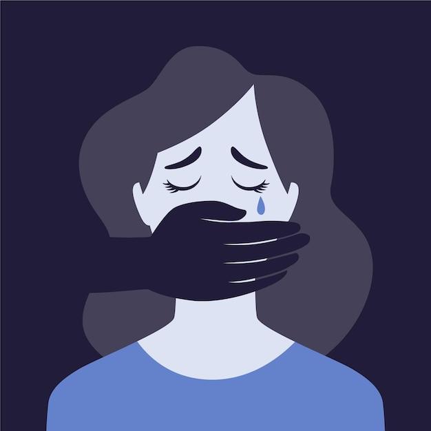 Traurige frau, die das konzept der geschlechtsspezifischen gewalt darstellt Kostenlosen Vektoren
