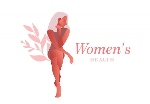 Traurige frau. harninkontinenz, blasenentzündung, unfreiwilliges urinieren frau vektor-illustration Premium Vektoren