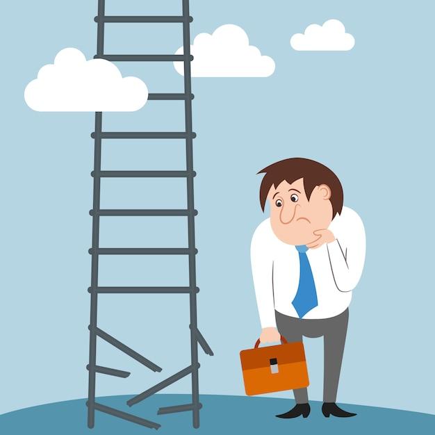 Traurige und verwirrte gebrochene verlorene arbeit des geschäftsmanncharakters karriere Kostenlosen Vektoren