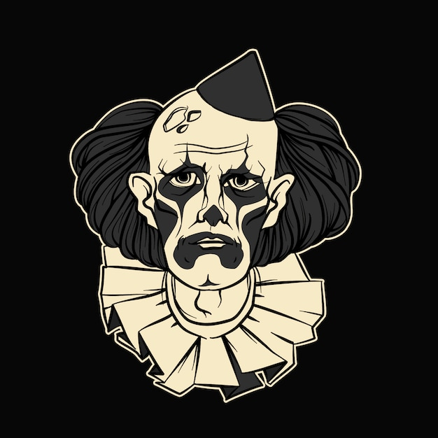 Trauriger clown halloween vector illustration Premium Vektoren