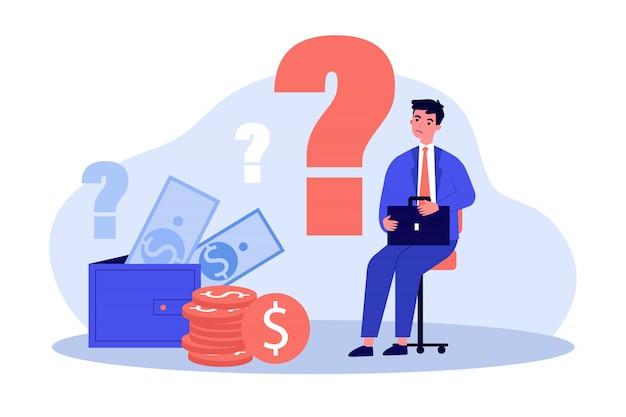 Trauriger mann besorgt über finanzielle probleme Premium Vektoren
