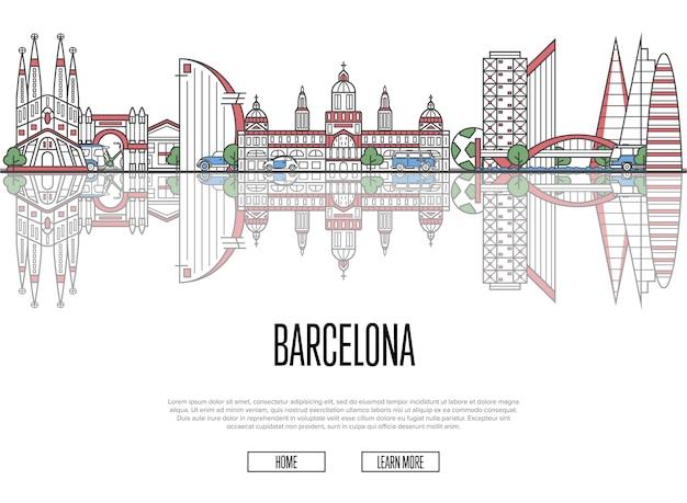 Travel barcelona web template im linearen stil Premium Vektoren