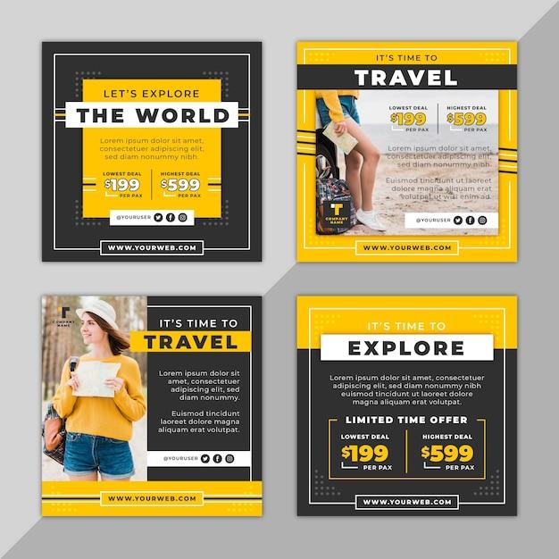 Travel instagram post sammlung Kostenlosen Vektoren
