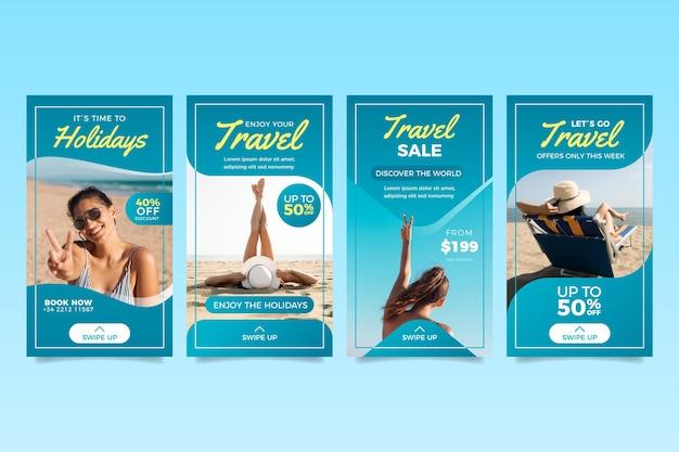 Travel sale instagram geschichten sammlung Premium Vektoren