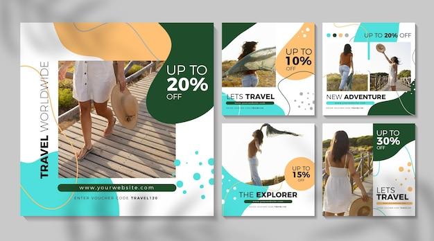 Travel sale instagram post sammlung Premium Vektoren