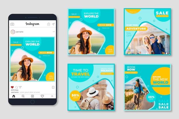 Travel sale instagram post sammlung Kostenlosen Vektoren