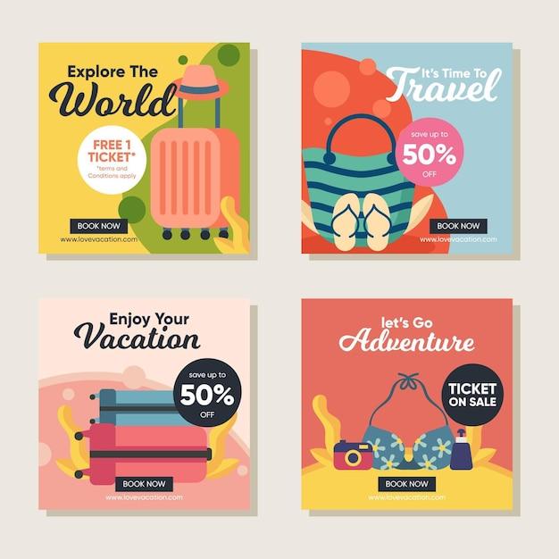 Travel sale instagram posts pack Kostenlosen Vektoren
