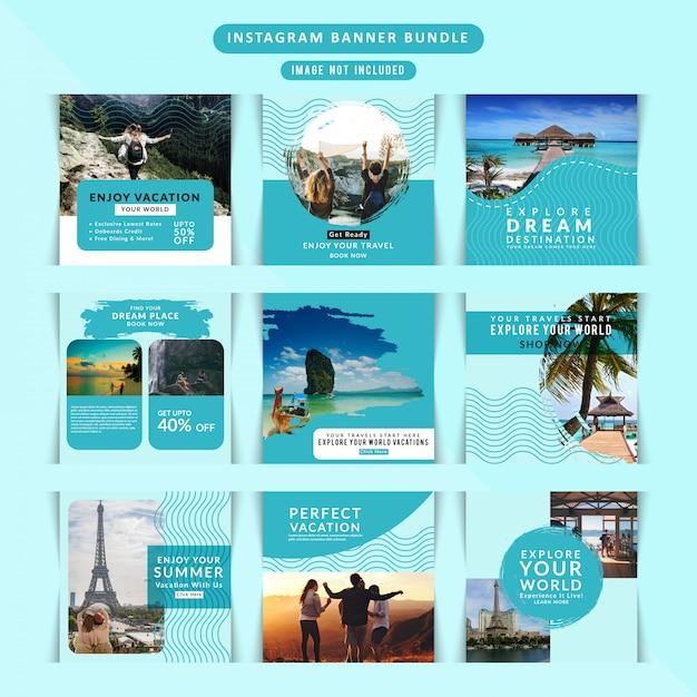 Travelling web banner für social media Premium Vektoren