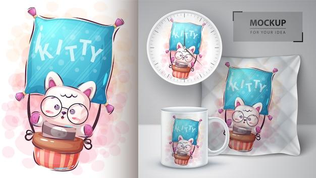 Trawel kitty poster und merchandising Premium Vektoren