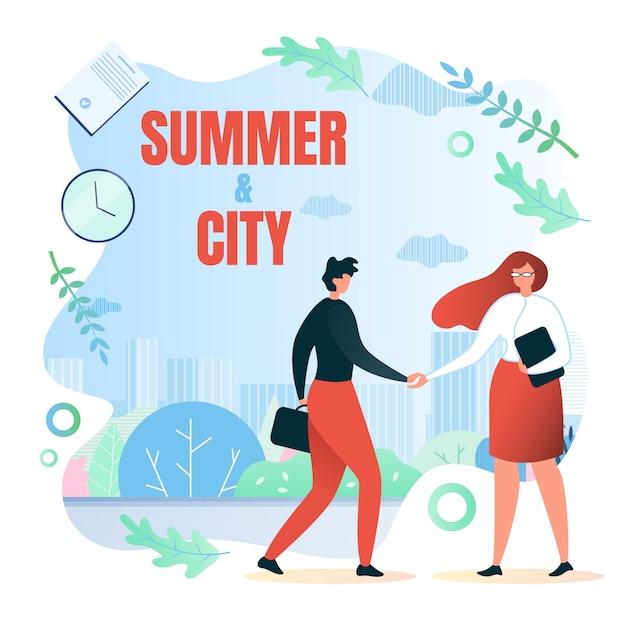 Treffen auf der straße, im schriftlichen sommer und in der stadtwohnung Premium Vektoren
