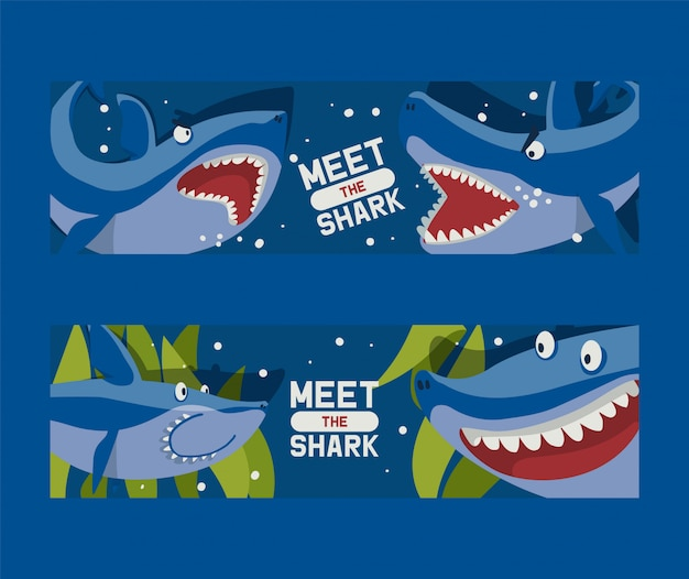 Treffen sie große haie. Premium Vektoren