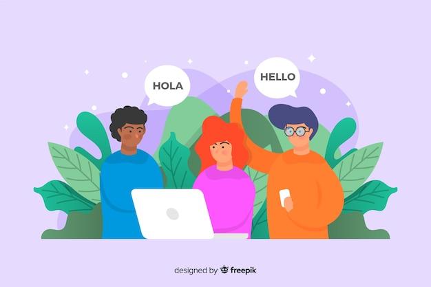 Treffen sie unser team landing page template flaches design Kostenlosen Vektoren