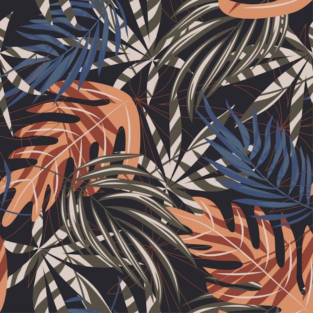 Trend nahtlose muster mit bunten tropischen blättern und pflanzen auf braunem hintergrund Premium Vektoren