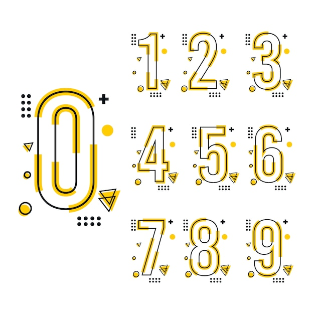Trend number design template Premium Vektoren