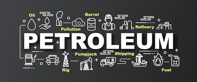 Trendige fahne des erdölvektors Premium Vektoren