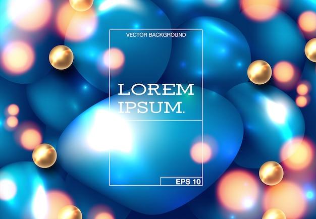 Trendige, flüssige form mit hellen farbverläufen. Premium Vektoren