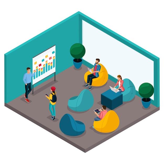 Trendige isometrische menschen und geräte, ein coworking center für räume, ein büro für schulungen und diskussionen, weiche krasla-birne, arbeiten Premium Vektoren