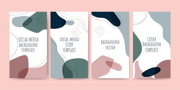 Trendige social-media-geschichten mit abstraktem hintergrund Premium Vektoren