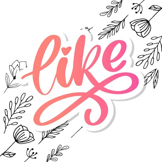 Trendiger brief, ideal für jeden zweck. hand gezeichnet wie buchstabe für dekoratives design. liebesbeschriftungszeichen. hand gezeichneter illustrationsslogan Premium Vektoren