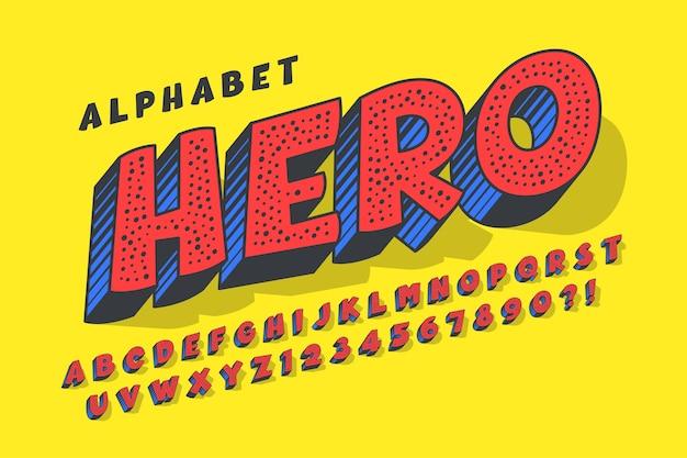 Trendy 3d komisches design, buntes alphabet, schrift. Premium Vektoren