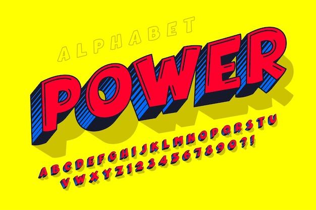 Trendy 3d komisches design, buntes alphabet Premium Vektoren