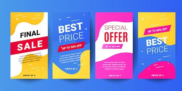 Trendy geschichten verkauf banner hintergründe. dekorative, editierbare vorlagen für social media-geschichten Premium Vektoren