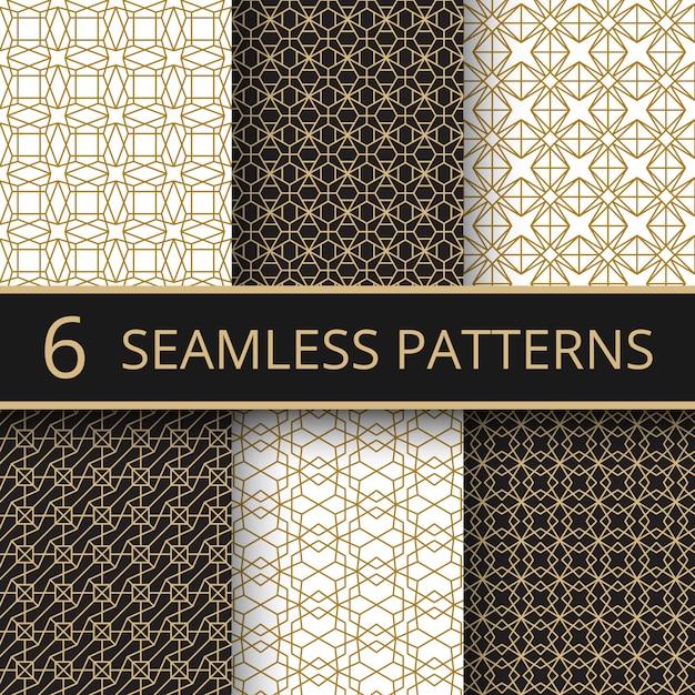Trendy gold geometrische nahtlose vektormuster mit einfachen goldenen linienformen Premium Vektoren