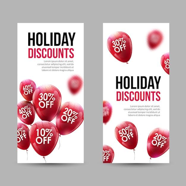 Trendy holiday sale discount banner mit roten ballons gesetzt Premium Vektoren