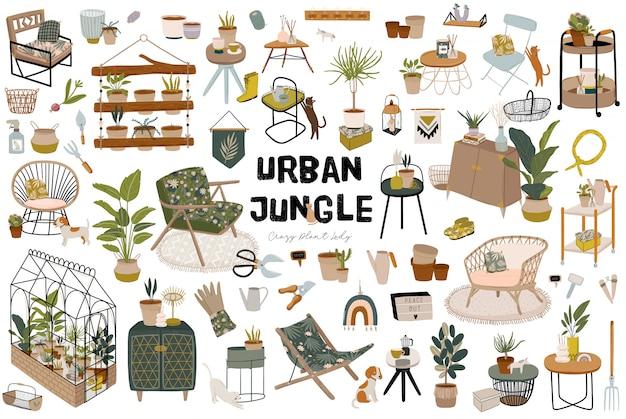 Trendy skandinavian urban greenery zu hause jungle interior mit wohnaccessoires. gemütlicher hausgarten im hygge-stil eingerichtet. verrückte plant lady illustration. Premium Vektoren