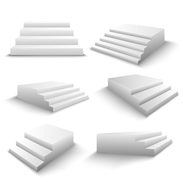 Treppen 3d realistische set Kostenlosen Vektoren
