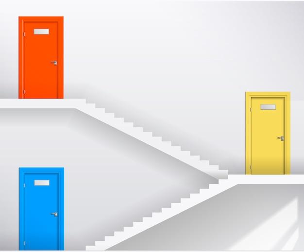 Treppen und farbige türen Premium Vektoren