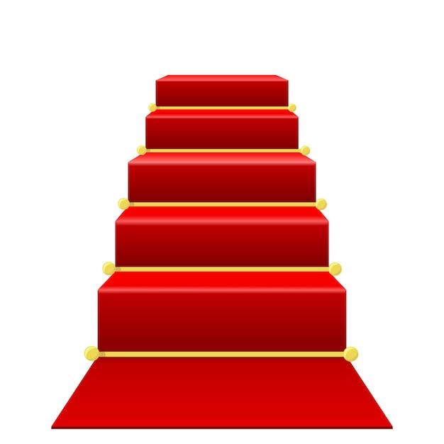 Treppenhaus mit rotem teppich Premium Vektoren