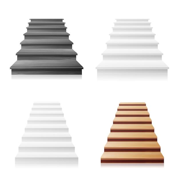 Treppenhaus-vektor-set. weiß, dunkles holz. realistische abbildung 3d. Premium Vektoren