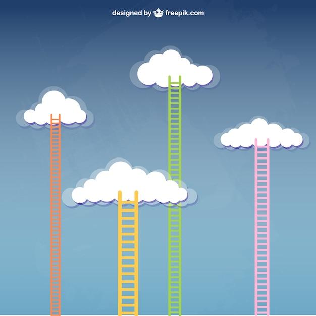Treppenhaus zu den wolken Premium Vektoren