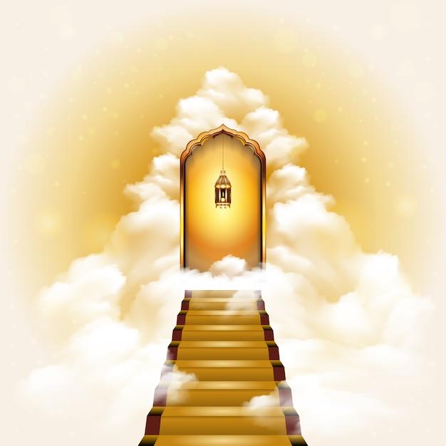 Treppenhaus zur himmel-tür-illustration Premium Vektoren