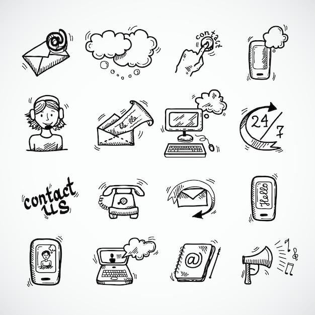 Treten sie mit uns ikonen-skizze in verbindung Kostenlosen Vektoren