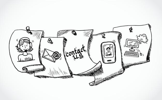 Treten sie mit uns ikonenpapierumbauskizze in verbindung Kostenlosen Vektoren