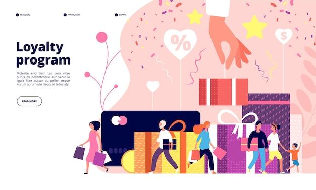 Treueprogrammkonzept. kundenbindungs-marketingprogramm, rabattprämienkarte, einzelhandelsgeschäft. illustration des treueprämienprogramms der anzeigevektorentwurf Premium Vektoren