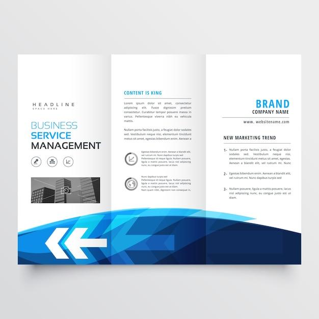 Trfold Broschüre Flyer Design-Vorlage in blau Thema mit Pfeil ...