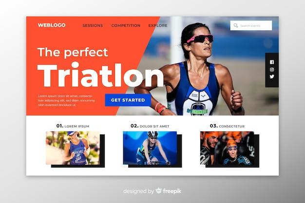 Triathlon sport landing page Kostenlosen Vektoren