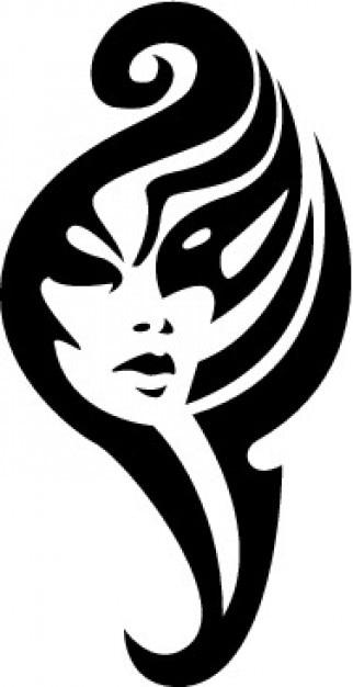 Tribal Girl Face Tatoo Vorlage Vektor