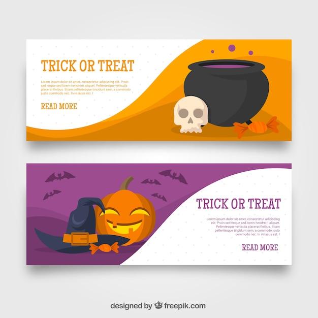 Trick oder behandeln banner mit halloween-elementen Kostenlosen Vektoren