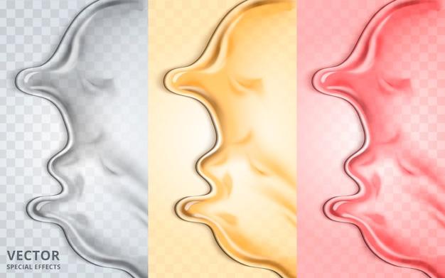 Tricolor fluid elemente, können als spezialeffekt verwendet werden, 3d-illustration Premium Vektoren